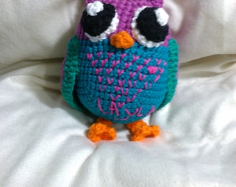 Crochet owl ANY colors you want can be made to rattle