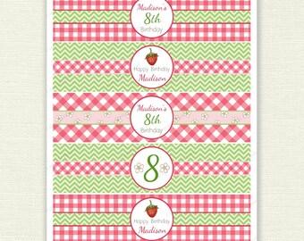 Strawberry Gingham Water Bottle Labels - 'Summer Garden' printable bottle wraps, customised, picnic, birthday party - digital BL011