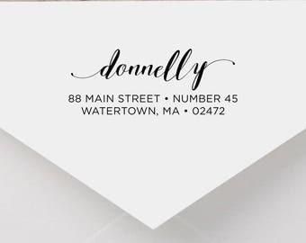 Personalized Return Address Stamp - Calligraphy Address Stamp, Self-Inking Return Address Stamp, Wood Address Stamp, Custom Stamp Style No.6
