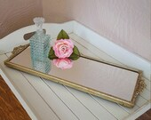 RESERVED for AMANDA, Long Vanity Tray, Rectangular Mirror Gold Filigree Handles - Oak Hill Vintage