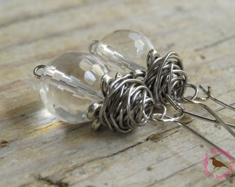 Crystal Ball Earrings, Boho Clear Quartz Earrings, Messy Wire Wrap Earrings, Clear Crystal Quartz, by MagpieMadness for Etsy