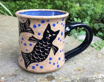 Catfish Mug - stoneware ceramic handmade coffee cup cat