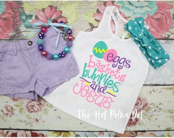 Girls Easter Tank, Eggs Baskets Bunnies and Jesus, Lace Back Tank for Girls, Girls Racer Tank, Easter Tank Top for Girls