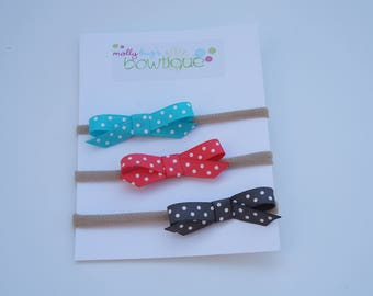 Trio of Polka Dot Bitty Bows in Turquoise, Grey and Coral CLIP or HEADBAND