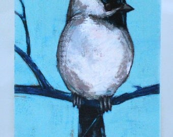chickadee in blue painting original a2n2koon black capped chickadee bird wall art on reclaimed wood signed artwork navy sky blue long art