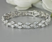 Crystal Bracelet, White Gold Bridal Bracelet, Wedding Bracelet, Tennis Bracelet, Bridal Jewelry, Wedding Jewelry, FELICITY
