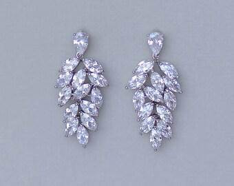 Crystal Bridal earrings, Bridal Chandelier Earrings, Crystal Earrings, Wedding Earrings, Wedding Jewelry,Bridal Jewelry, CLEO