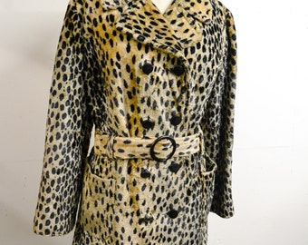 1960s Double breasted leopard print faux fur coat / 60s 70s belted cheetah printed velvet fake fur jacket - M L