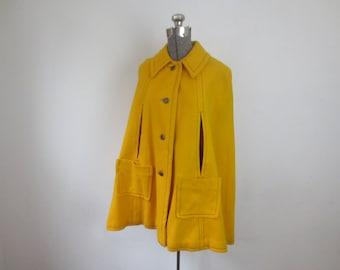 Vintage '60s Super Mod Golden Yellow Wool Cape w/ Black Contrast Stitching, Small / Medium