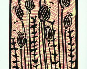 linocut print, Poppyheads, yellow, pink, nature, printmaking, home interior, meadow, decorative print, floral, flowers,