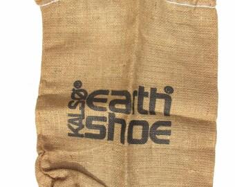 Vintage Burlap Shoe Bag, Hidden, 1970s Kalso Earth Shoe Bag, Rustic Wall Decor, Country Decor