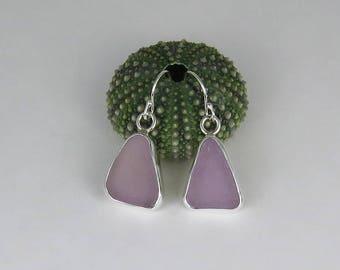 Lavender Sea Glass Bezel Earrings Maine