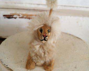 OLD antique miniature plush stuffed LION toy wool