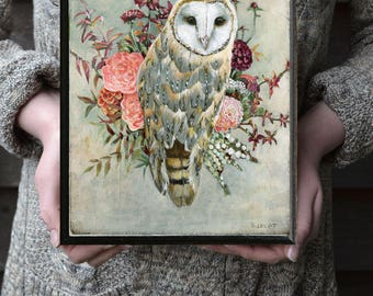 Owl Gift for Her, Owl and Flowers Print, Barn Owl Wall Art, Owl Gift, Owl Nursery, Rustic Owl Painting, Barn Owls, Owl Gifts