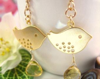 Gold canary citrine drop earrings, Easter golden dove love birds citrine earrings