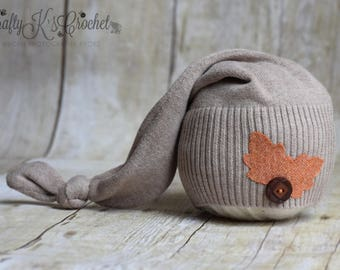 Newborn Photo Prop Hat Upcycled Newborn Knot Hat Baby Boy Photo Prop Baby Girl Photo prop Autumn Hat w/ Leaf Applique Taupe Brown - RTS