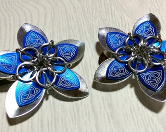 Silver and blue Celtic hair flower