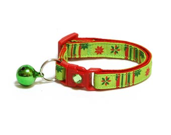 Christmas Cat Collar - Poinsettia Flower on Bright Green - Small Cat / Kitten Size or Large Size