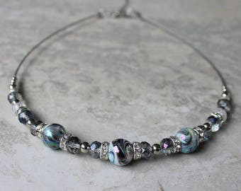 Beaded Necklaces for Women, Short Necklaces, Blue, Silver, Necklace Gift, Crystal, Beaded Wire Necklace, Gifts for Her
