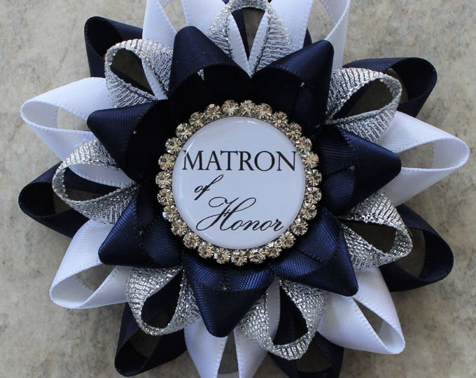 Matron of Honor Gift, Bachelorette Party Pins, Bridal Shower Pins, Bridal Party Corsages, Maid of Honor Gift, Navy Blue, White, Silver