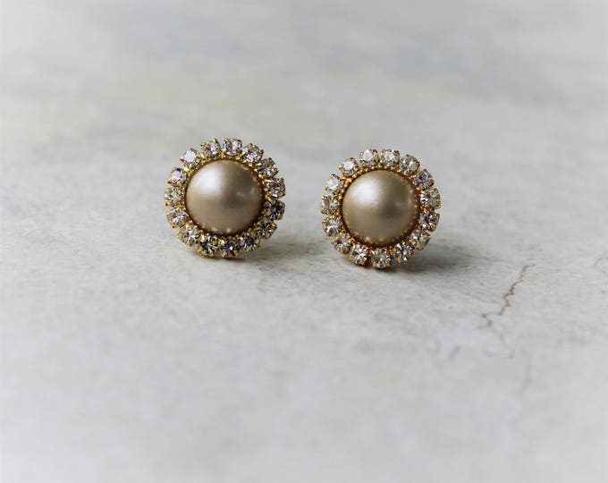 Champagne Pearl Earrings, Champagne and Gold Wedding, Champagne Wedding Jewelry, Champagne Earrings, Bridesmaid Earring Gift, Pearls