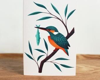 Kingfisher | Greetings Card | British Wildlife Illustration | Bird Art Notecard A6