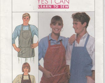 Easy Apron Pattern Pockets One Size uncut Simplicity 9245  Learn to Sew Pattern