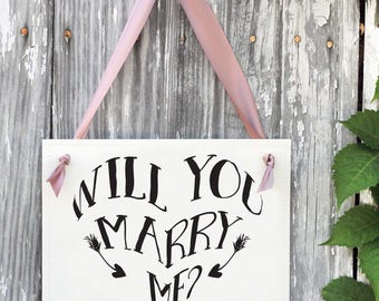 Will You Marry Me? Proposal Sign Heart & Arrows | Engagement Banner Handmade in USA | Creative Ways to Propose to Girlfriend | 1719 BW