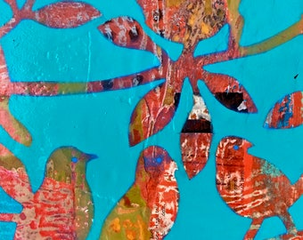 Birds of a Feather Mixed Media Collage Painting 'Teal Sky'