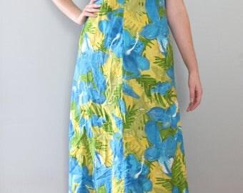 hibiscus hawaiian dress - 70s vintage maxi blue green yellow painterly abstract floral print long full skirt tiki lace bow house muumuu