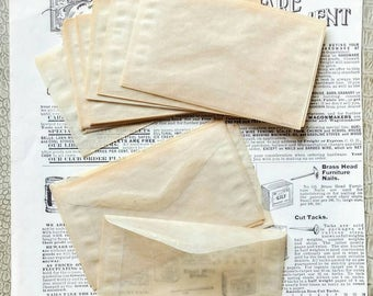 25 Glassine Aged Translucent Envelopes - 4 1/4 x 2 1/2 Inches