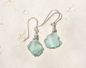 Roman Glass Earrings with Pearls. Silver Earrings. Roman Glass Jewelry. Silver Jewelry. Israeli Roman Glass. Free Shipping. By HKart1 Israel