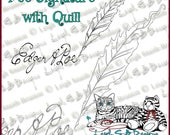 Poe Signature with Quill - digi art stamp original art by Leigh Snaith-Brunton of LeighSBDesigns