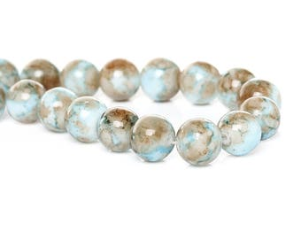 15 Mottled Glass Beads 10mm - Tones of Atlantic Seashore BD120