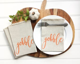 Napkins - Thanksgiving Napkins Linen Napkins Gobble Napkins Grateful Napkins Dinner Napkins Cloth Napkins Autumn Tablescape Fall Tabletop