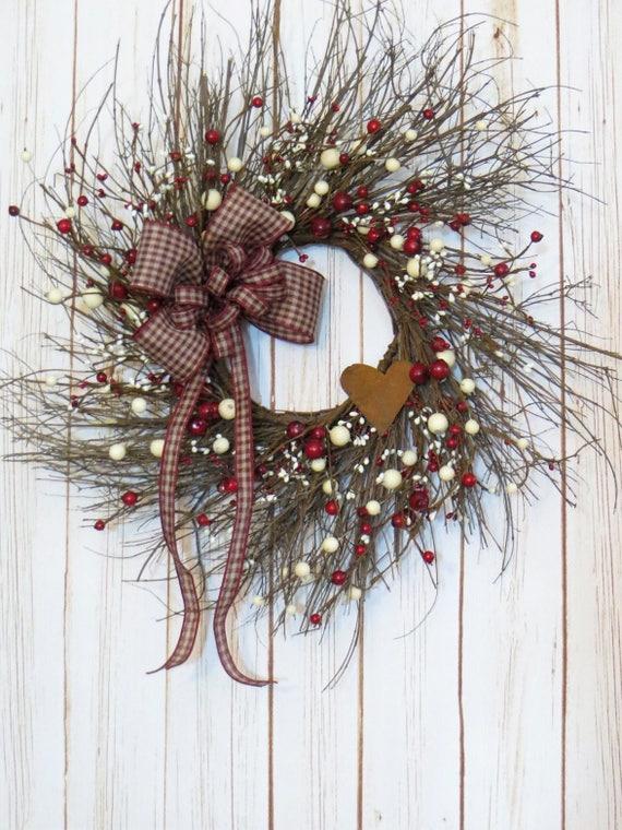 Valentine Wreath, Primitive Valentine, Primitive Decor, Valentine Decor, Rustic Valentine Wreath, Winter Wreath, Twig Wreath