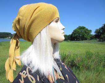 Slouch Beanie Rag Tie Top Wrap Bohemian Rose Back Slouchy Women's Mustard Yellow Merino Wool  Knit Hat BOHO Clothing  A1206