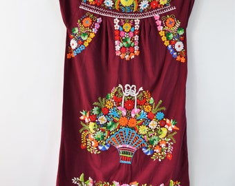 1970s Mexican Dress Embroidered Flower Basket on Maroon Red Cotton Boho Dress Hand Embroidery Size Small