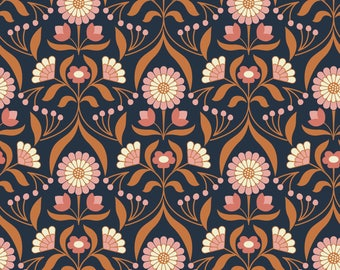 Drawing Room Blooms on Darkest Blue  A242.3 - CHIEVELEY - Lewis and Irene Fabric - By the Yard