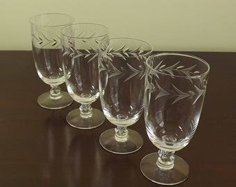 Crystal Iced Tea Glasses, Fine Crystal Stemware, Teardrop Short Stemmed Glass, Water Goblet Set, Fostoria Christmas Holly, Set of 4 Tumblers
