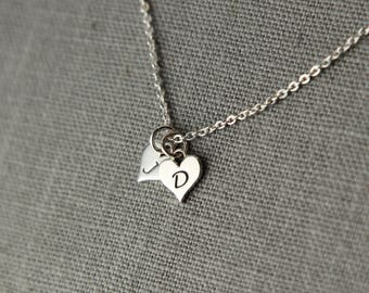 Personalized Gift for Mom, Necklace Two Initials Necklace, Two Hearts Jewelry, Twins Necklace, Silver Initial Jewelry