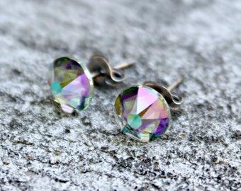 Titanium Earrings, Paradise Shine Swarovski Crystal, Hypoallergenic
