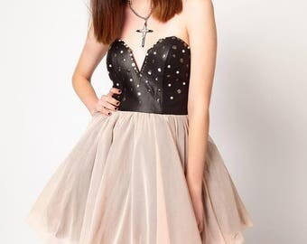 """Faux Leather & Tulle Cocktail """"Poof"""" Prom Dress With Polyester Lining - Sizes Available: Extra Small, Small, Medium"""