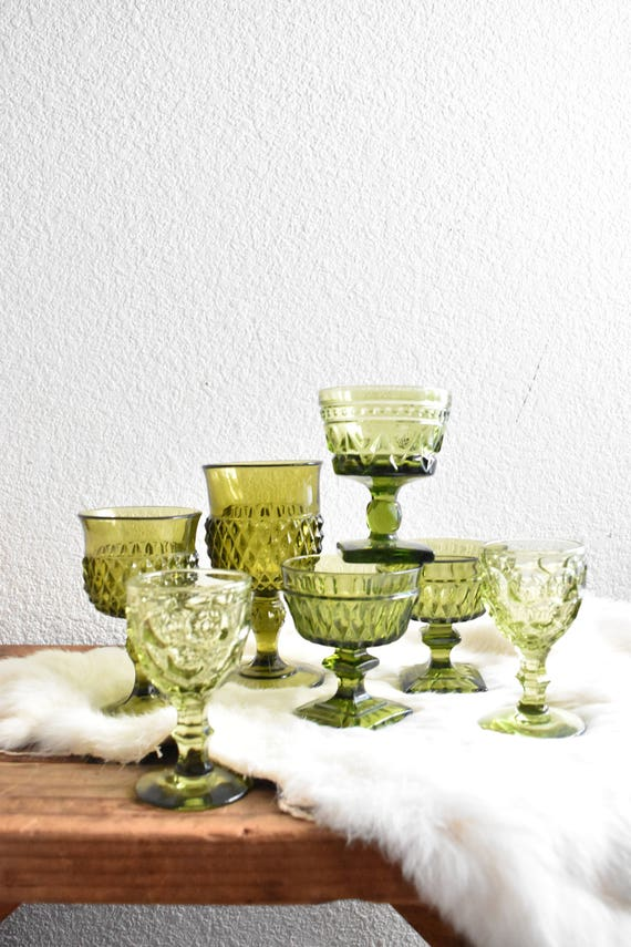 mix collection of green glass champagne wine glass goblets / depression glass set