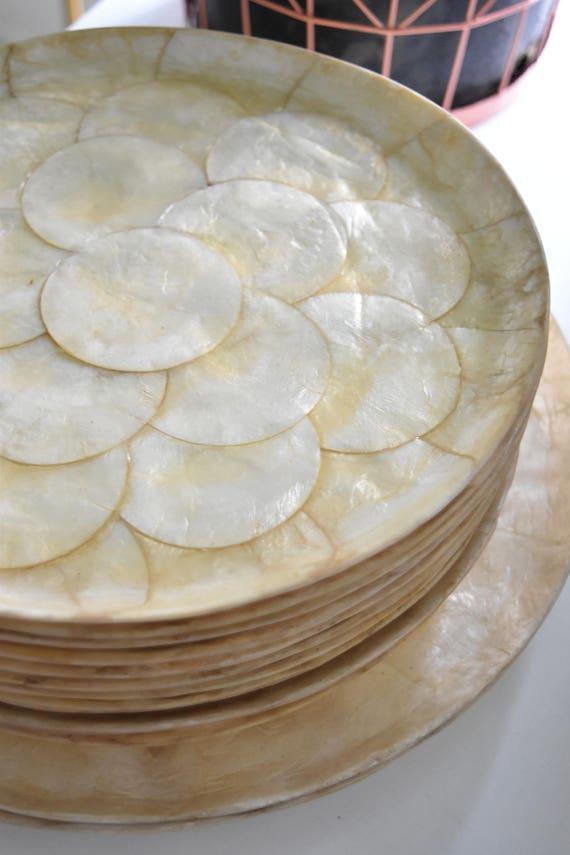 large set of high end capiz shell dishware serving plates