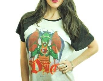Vintage DIO shirt 1986 Concert shirt Band Tee Distressed shirt Black Sabbath Shirt DIO Tee XL