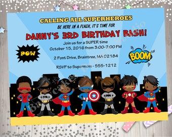 Superhero Birthday Party Invitation invite Super hero invitation superfriends boy girl african american superhero invitation printable