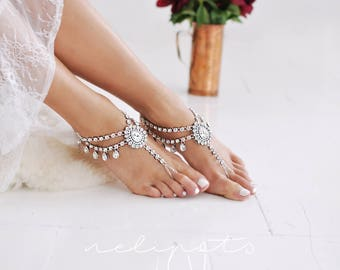Beach Wedding Barefoot Sandals,Bridal Foot Jewelry,Boho Slave Anklet,Wedding Anklet,Bridesmaid Accessories,SAYEN design