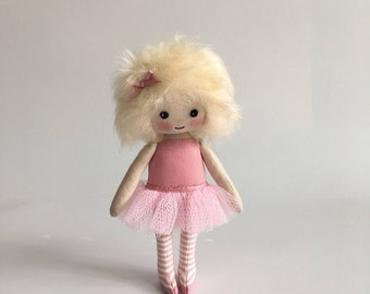 rag doll, tiny doll, art doll, ballerina doll, dancer doll, pink ballet doll, miniature doll, gifts for her, collectors doll