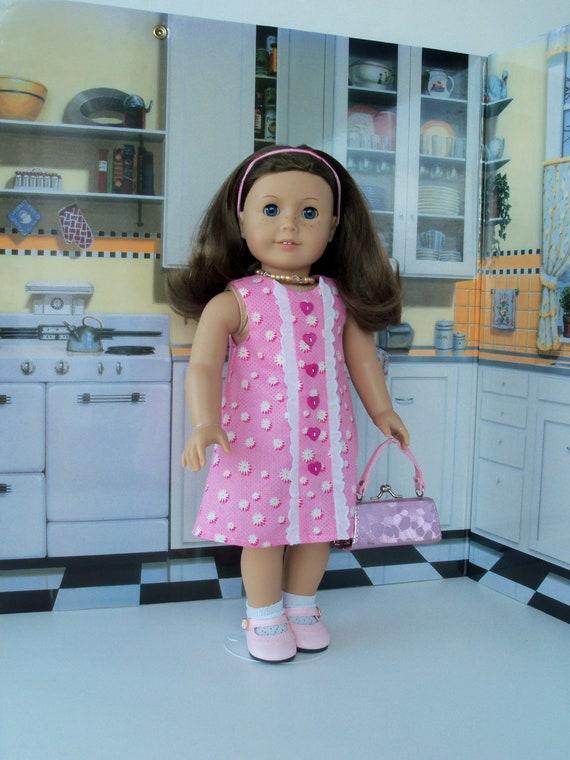 Summer Dress, Purse, Shoes and Socks/  Fits Like American Girl® Doll Clothes / 18 Inch Doll Clothes by Farmcookies
